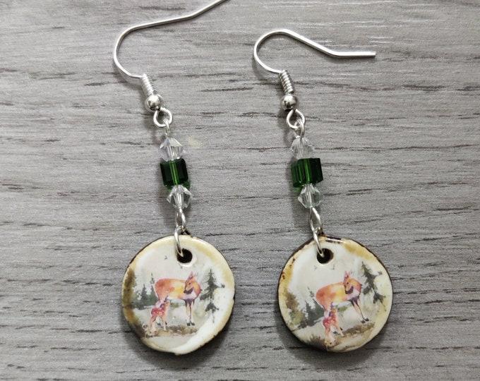Deer Statement Earrings, Animal Jewelry