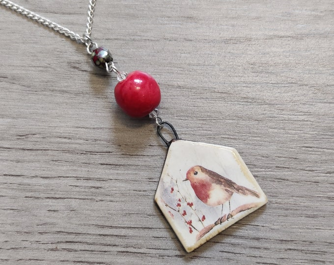Robin Statement Necklace, Bird Pendant, Woodland, Animal Necklace