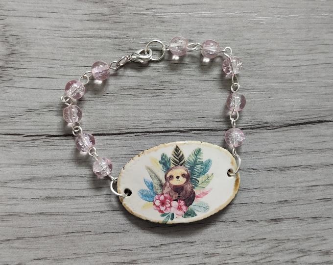 Sloth Bracelet, Pink Sloth Bracelet