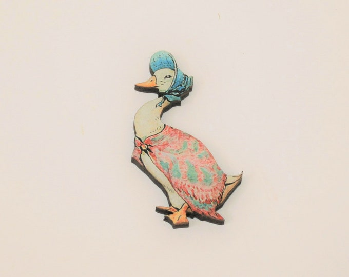 Jemima Puddleduck Brooch, Beatrix Potter Illustration, Wood Jewelry, Animal Brooch, Woodland