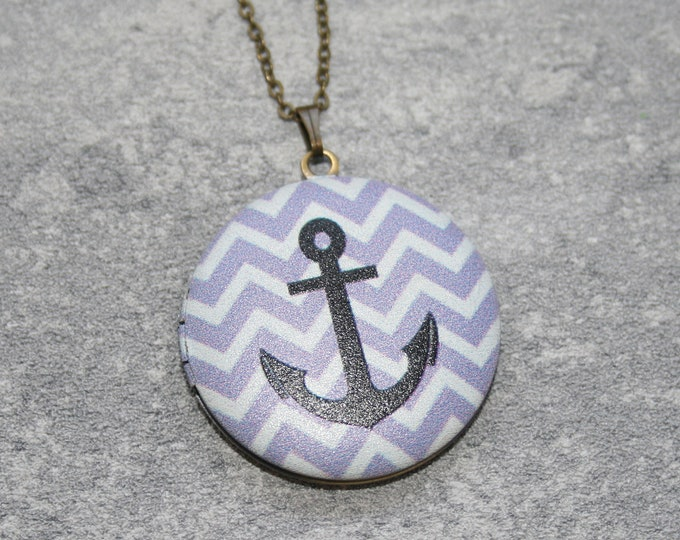 Anchor Locket Necklace, Nautical Necklace, Anchor Pendant, Red Anchor Necklace, Maritime Jewelry