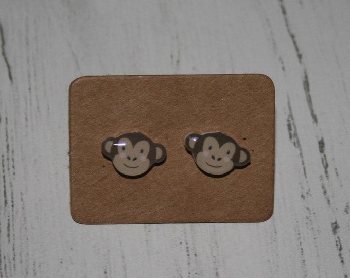 Monkey Earrings, Teeny Tiny Earrings, Animal Jewelry, Cute Earrings