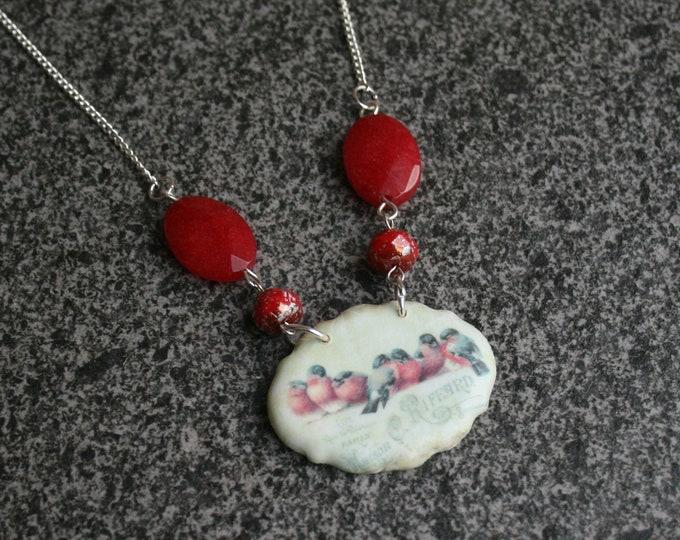 Bird Statement Necklace, Red Bird Pendant, Woodland, Animal Necklace