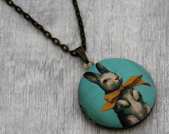 Rabbit Locket Necklace, Bunny Rabbit Necklace, Animal Jewelry