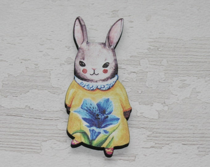 Rabbit Brooch, Easter Bunny, March Hare, Woodland Hare Illustration, Wood Jewelry, Animal Brooch