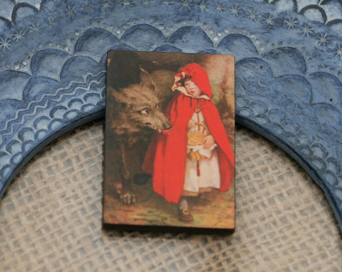 Little Red Riding Hood Brooch, Big Bad Wolf Jewelry, Fairy Tale Badge, Little Red Riding Hood Pin