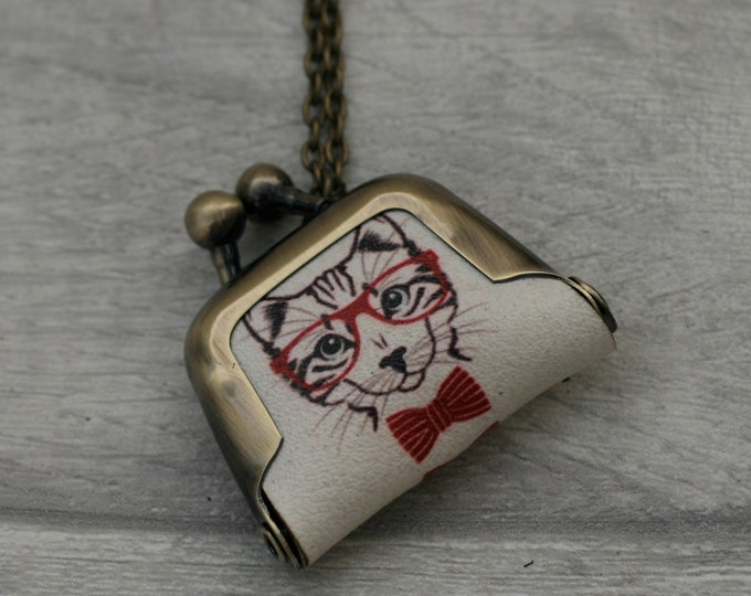 Smart Cat Coin Purse Necklace, Animal Jewelry