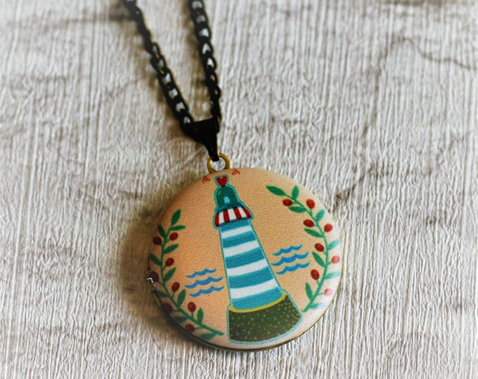 Lighthouse Locket Necklace, Lighthouse  Necklace, Nautical Jewellery, Seafaring Pendant, Sailor Gift