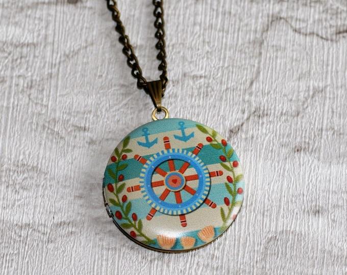 Helm Locket Necklace, Nautical Necklace, Helm Pendant, Nautical Jewelry, Blue Helm Locket