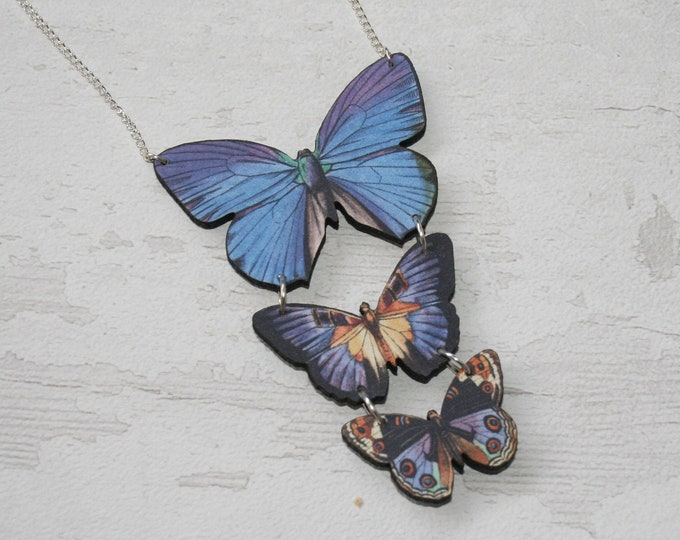 Blue Butterfly Necklace, Statement Necklace, Wood Pendant, Blue Butterfly Illustration, Woodland, Animal Necklace