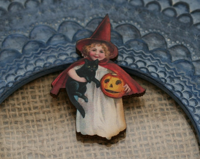 Halloween Brooch, Witch Brooch, Black Cat, Halloween Badge