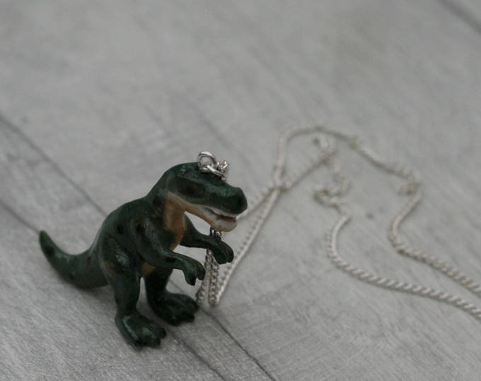 Porcelain Dinosaur Necklace, Animal Necklace, Tyrannosaurus Rex Necklace