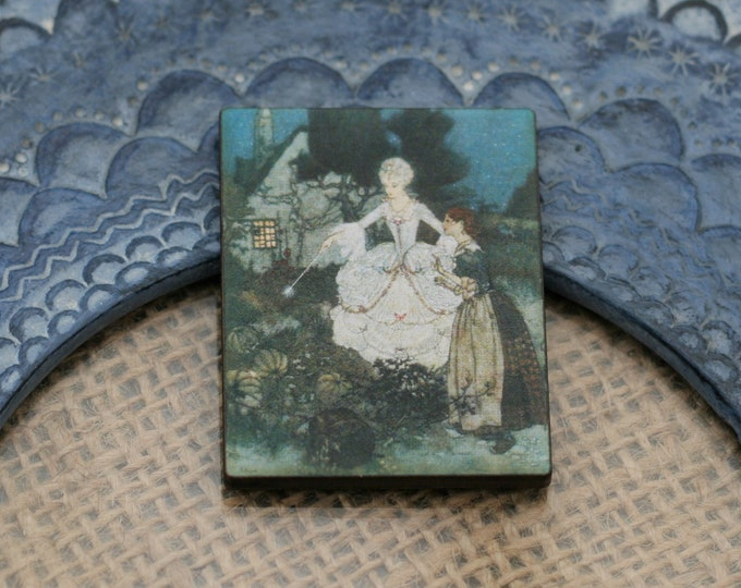 Cinderella Brooch, Fairy Godmother Jewelry, Fairy Tale Badge Pin