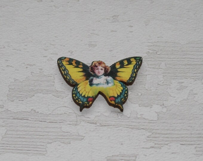 Yellow Butterfly Fairy Brooch, Wood Accessory, Badge Illustration Jewelry, Animal Brooch, Woodland, Wood Jewelry