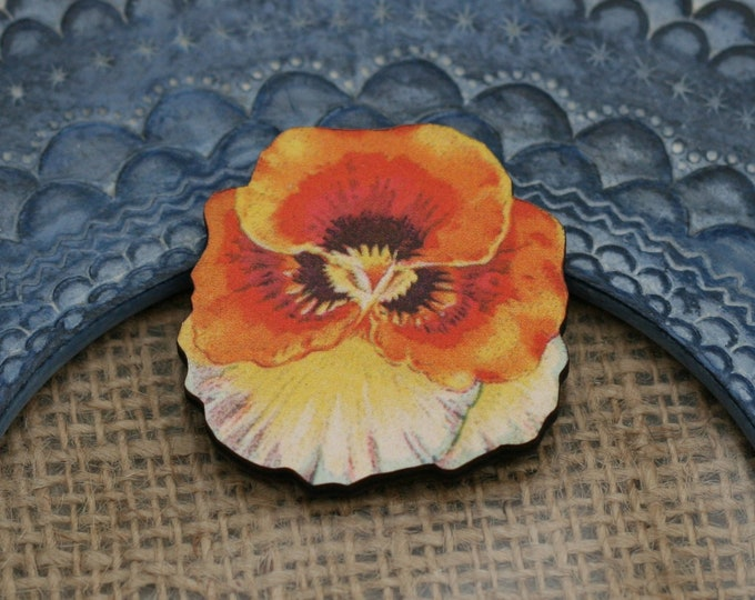 Orange Flower Brooch, Pretty Pansy Badge, Vintage Floral Illustration, Wood Jewelry, Retro Pin