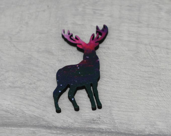 Galaxy Deer Brooch, Fawn Badge, Woodland Illustration, Wood Jewelry, Animal Brooch