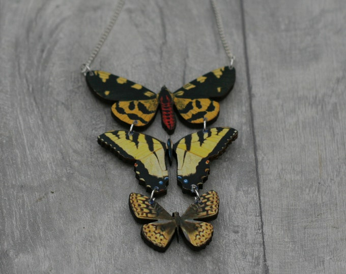 Yellow Butterfly Necklace, Statement Necklace, Wood Pendant, Yellow Butterfly Illustration, Woodland, Animal Necklace