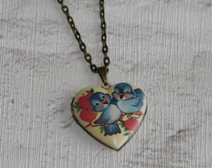 Bird Locket Necklace, Bird Necklace, Woodland, Blue Bird Locket, Heart shaped Locket