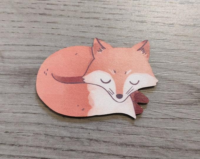 Fox Brooch, Woodland Fox Illustration, Wood Jewelry, Animal Brooch