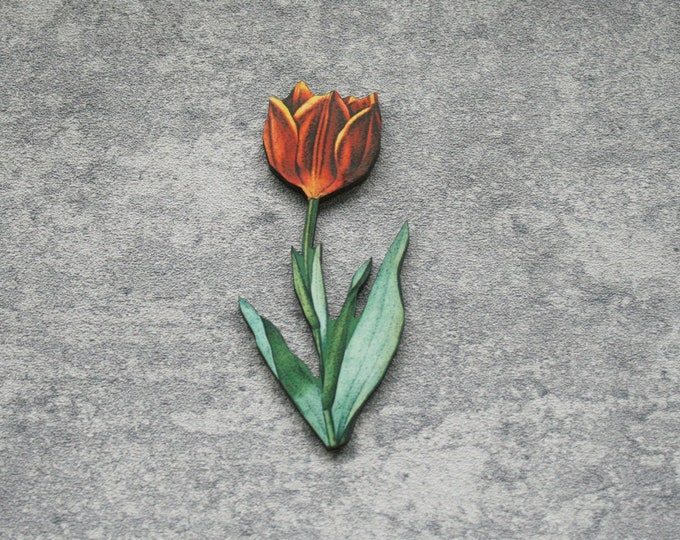 Flower Brooch, Pretty Tulip Badge, Vintage Floral Illustration, Wood Jewelry, Retro Pin