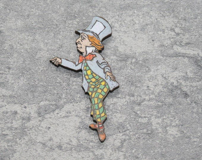 Mad Hatter Brooch, Alice in Wonderland Brooch, Wood Jewelry