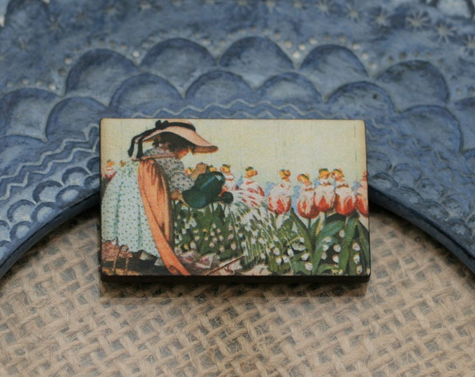 Mary Mary Quite Contrary Brooch, Nursery Rhyme Illustration, Wood Jewelry