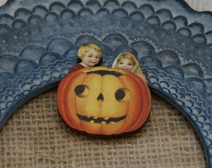 Halloween Brooch, Pumpkin Brooch, Thanksgiving, Halloween Badge
