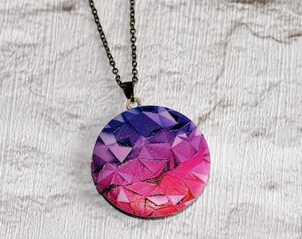 Geometric Locket Necklace, Triangles Necklace, Geometry Jewelry