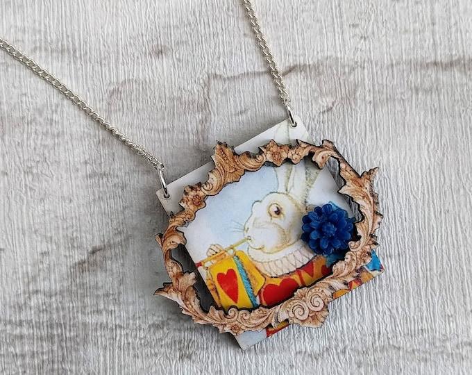 Alice in Wonderland Necklace, Herald Rabbit Necklace, Tenniel Illustration, Statement Necklace, Altered Art, Mixed Media
