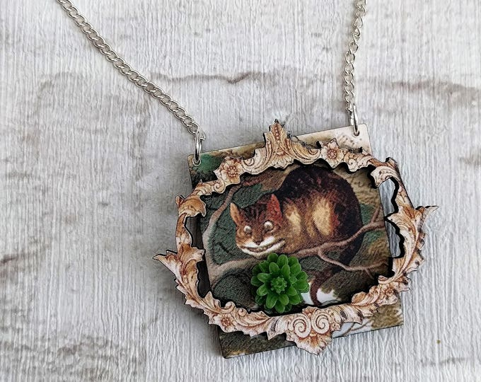 Alice in Wonderland Necklace, Cheshire Cat Necklace, Tenniel Illustration, Statement Necklace, Altered Art, Mixed Media