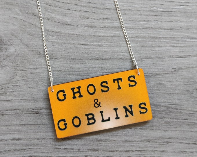 Halloween Ghosts & Goblins Necklace, Wood Jewelry