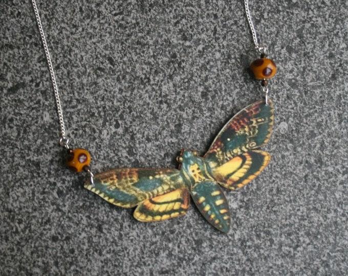 OOAK Death's Head Moth, Hawk Moth Necklace, Wood Pendant, Illustration Jewelry, Butterfly Necklace, Woodland, Animal Necklace, Wood Jewelry