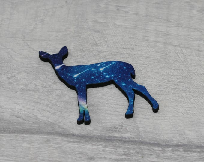 Galaxy Deer Brooch, Fawn Badge, Woodland Illustration, Wood Jewelry, Animal Brooch
