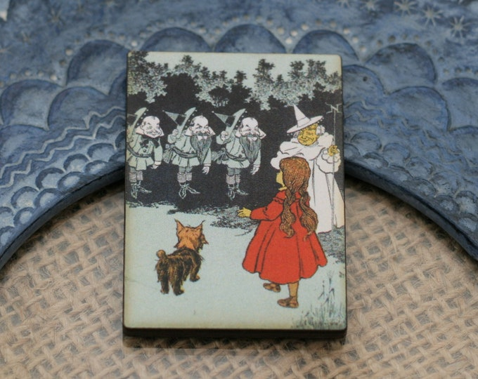 Dorothy & Toto Brooch, Wizard Of Oz Illustration, Wood Jewelry