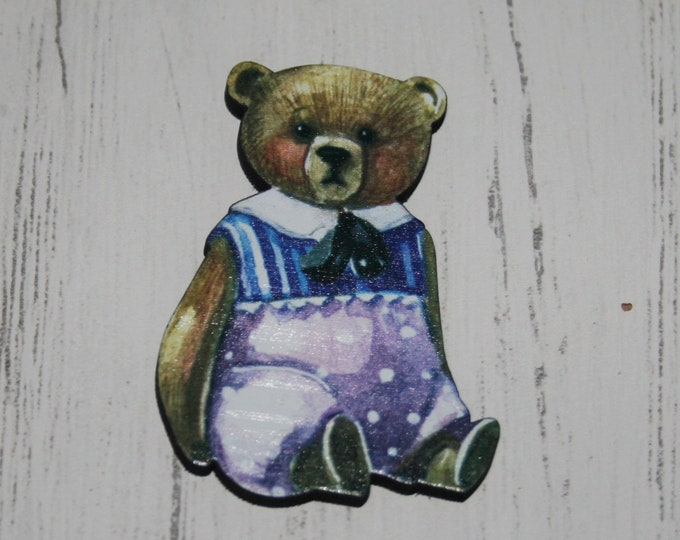 Teddy Bear Brooch, Wooden Vintage Bear Illustration, Wood Jewelry,