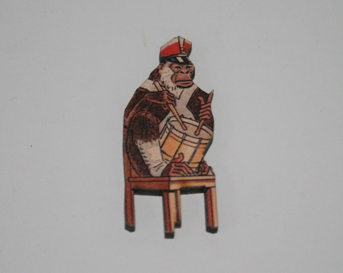 Monkey Brooch, Circus Brooch, Wooden Drum Playing Monkey Badge, Circus Illustration, Animal Brooch, Wood Jewelry