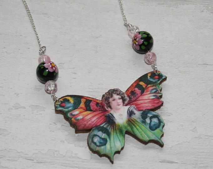 OOAK Pink Butterfly Fairy Necklace, Wooden Butterfly, Illustration Pendant, Animal Necklace, Wood Jewelry