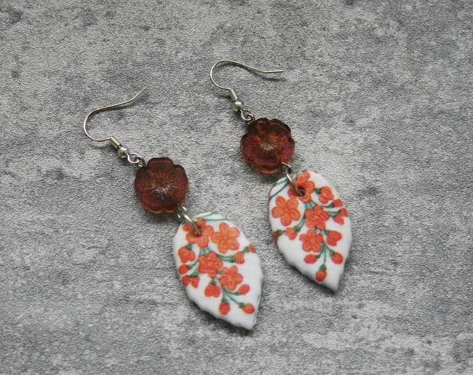 Orange Flower Statement Earrings, Floral Jewelry