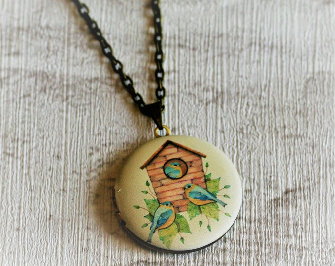 Birdhouse Locket Necklace, Bird Necklace, Woodland, Blue Bird Necklace, Nature Jewelry