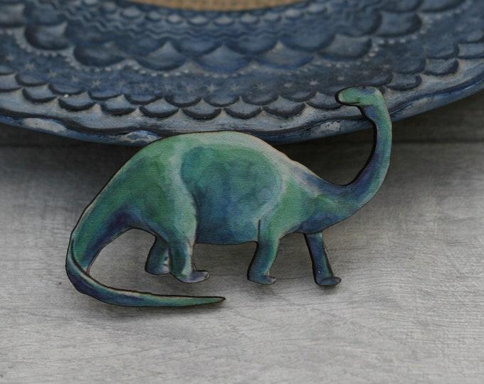 Dinosaur Brooch, Brachiosaurus Brooch, Dinosaur, Jurassic Park Prehistoric Jewelry, Wood Dinosaur Pin
