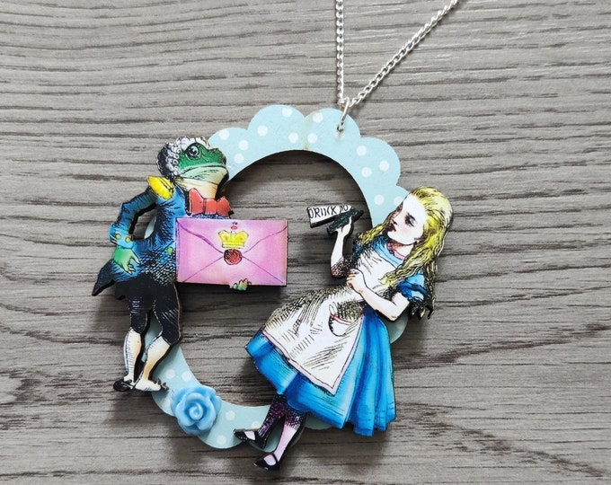 Alice in Wonderland Necklace, Alice & Frog Footman Necklace, Tenniel Illustration, Statement Necklace, Altered Art, Mixed Media