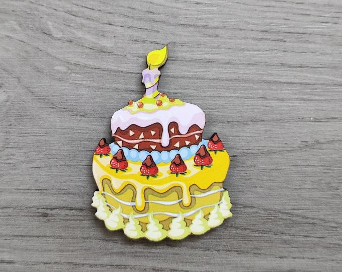 Birthday Cake Brooch, Cake Badge, Food Pin