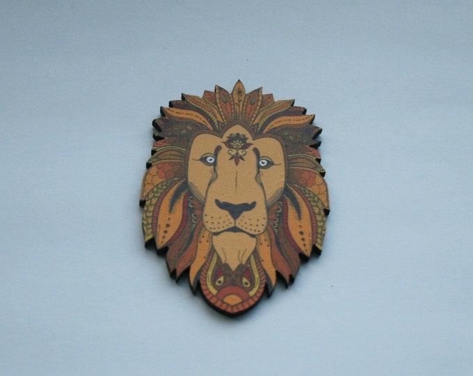 Lion Brooch, Wooden Lion Badge, Animal Brooch, Wood Jewelry, Big Cat Brooch