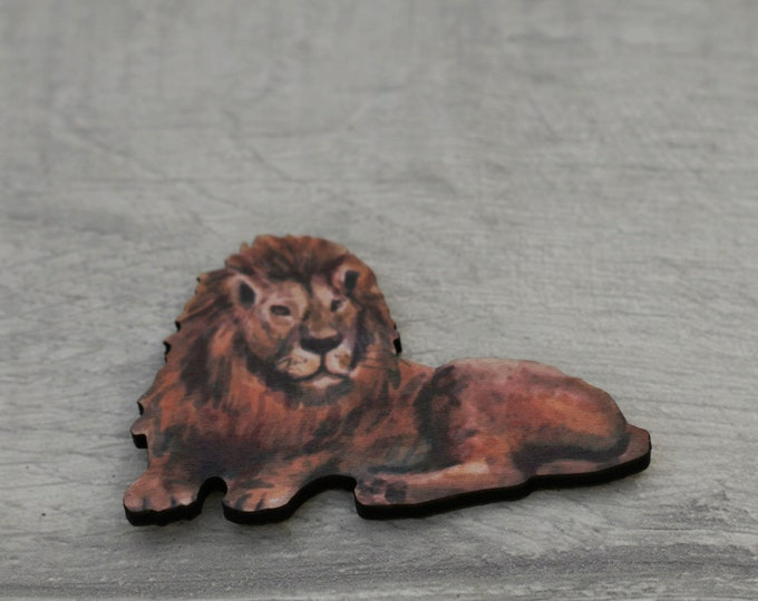 Lion Brooch, Wooden Lion Badge, Animal Brooch, Wood Jewelry, Big Cat Brooch