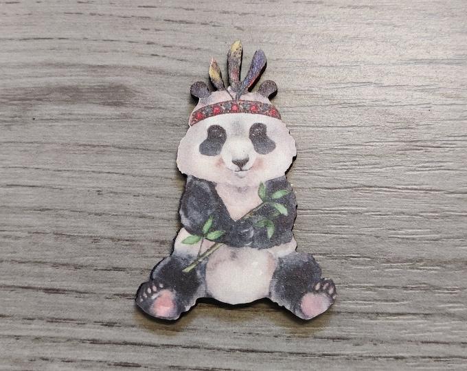 Panda Bear Brooch, Wood Jewelry, Animal Brooch