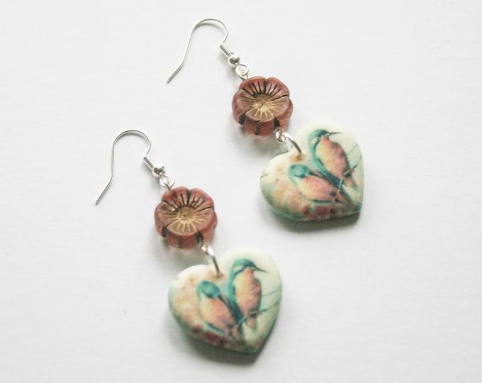 Pink Bird Statement Earrings, Animal Jewelry