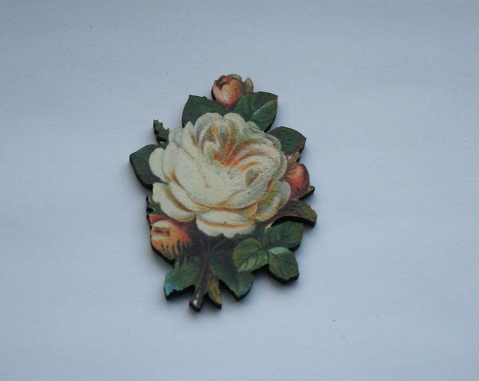 White Flower Brooch, Vintage Floral Illustration, Wood Jewelry, Retro Pin