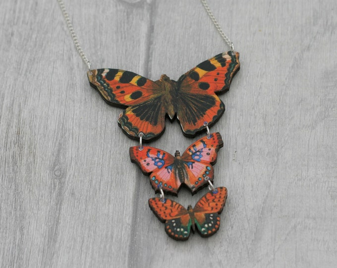 Orange Butterfly Necklace, Statement Necklace, Wood Pendant, Orange Butterfly Illustration, Woodland, Animal Necklace