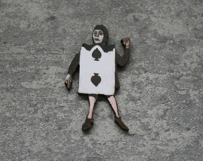 Alice in Wonderland Brooch, Playing Card Brooch