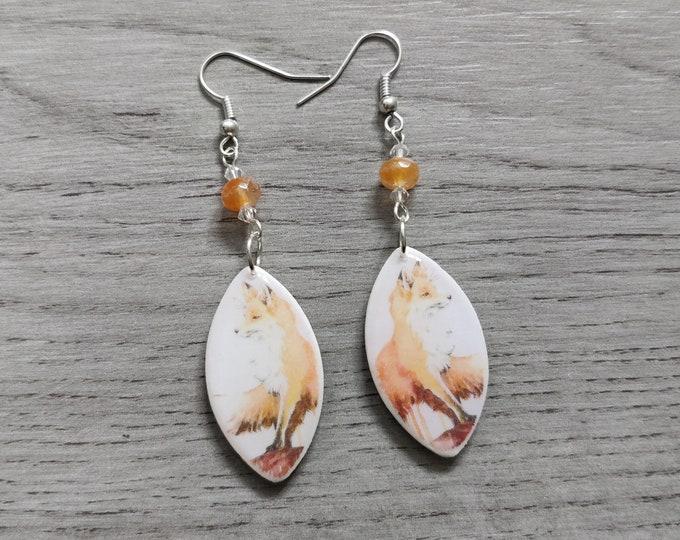 Fox Statement Earrings, Animal Jewelry